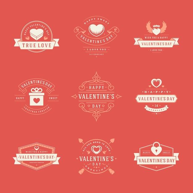 인사말 카드 및 홍보 배너에 대한 해피 발렌타인 데이 레이블, 배지, 기호, 일러스트레이션 및 타이포그래피 요소. 프리미엄 벡터