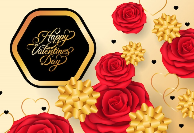 Happy valentines day lettering in frame on golden background Free Vector