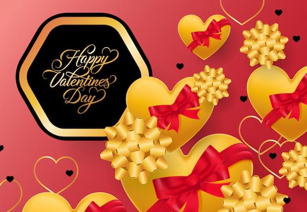 Felice giorno di san valentino scritte nel telaio su sfondo rosa Vettore gratuito