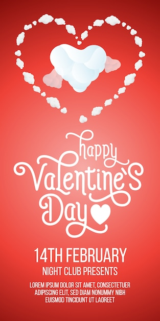 Happy valentines day lettering with hearts and sample text Free Vector