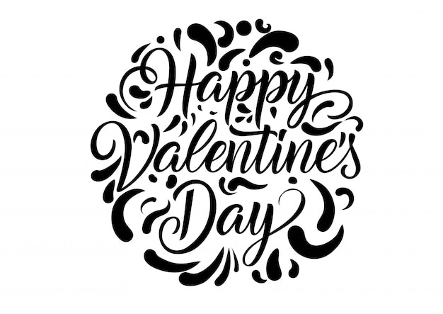 Happy Valentines Day Lettering Vector Premium Download