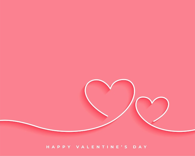 幸せなバレンタインデーラインハートカードのデザイン 無料ベクター