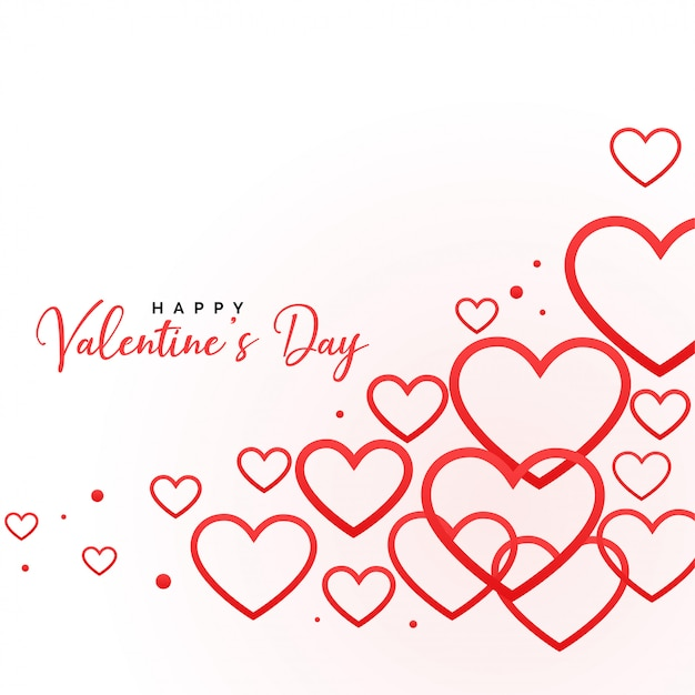 Happy valentines day line hearts background Free Vector