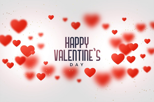 Happy valentines day love background with floating hearts Free Vector