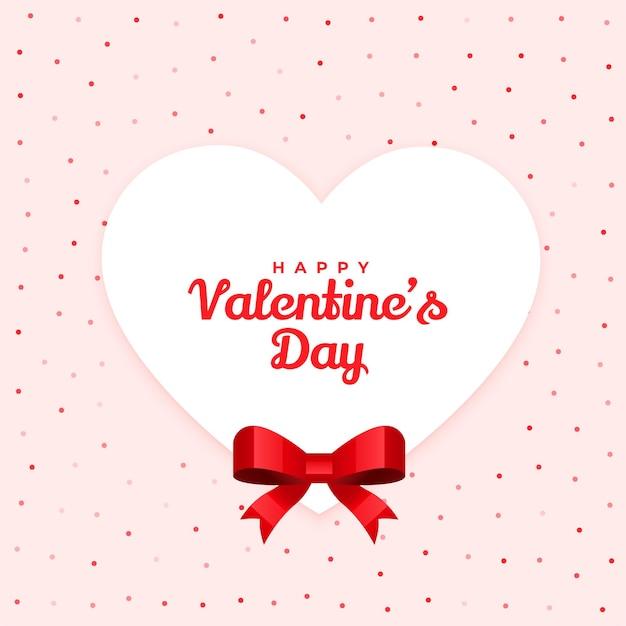 幸せなバレンタインデーリボン付きの素敵なカードデザイン 無料ベクター