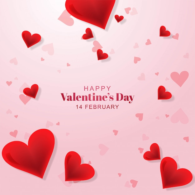happy valentines day lovely heart greeting card template