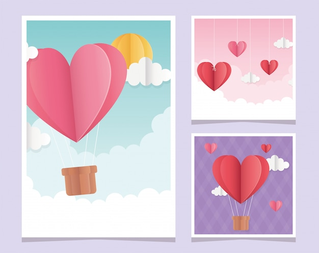 Happy valentines day origami greeting cards hearts clouds balloon Premium Vector