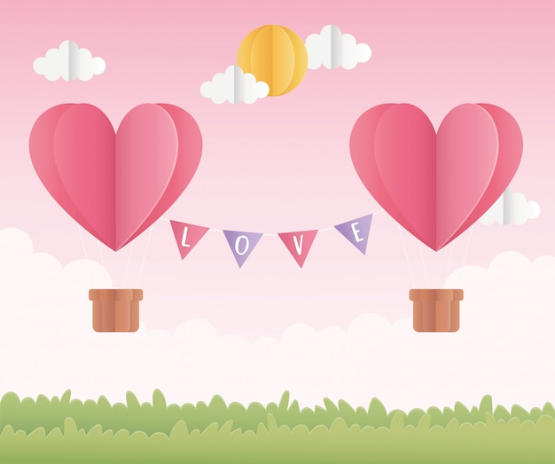 Happy valentines day origami paper air balloons with sun field Premium Vector
