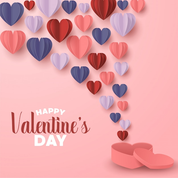 Happy valentines day paper cut style with colorful heart shape in pink background Premium Vector