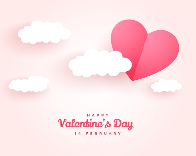 Happy valentines day paper style cloud and heart background Free Vector
