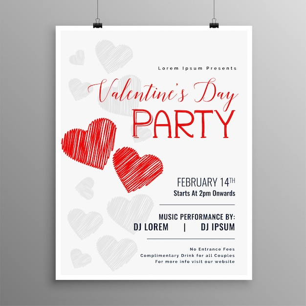 Happy valentines day party celebration flyer template Free Vector