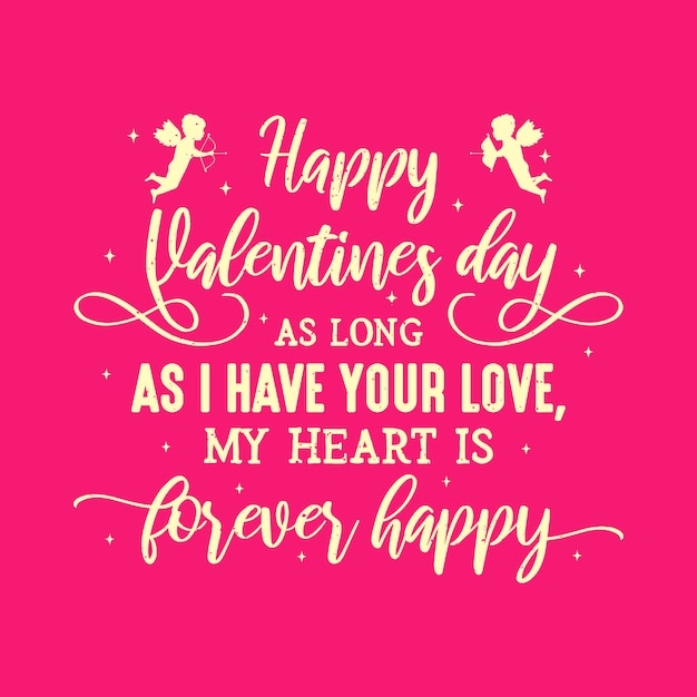 Happy valentines day quotes typography Vector | Premium Download