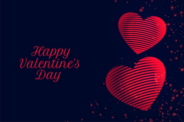 Happy valentines day red hearts greeting card Free Vector