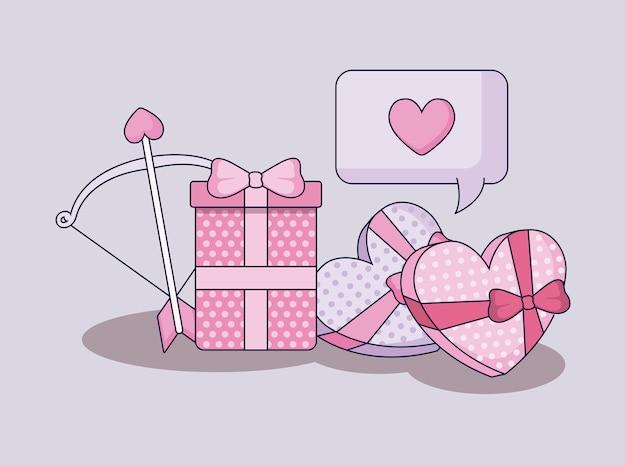 Happy valentines day set icons Premium Vector