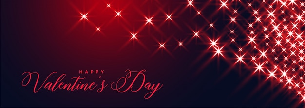 Happy valentines day sparkles banner beautiful design Free Vector