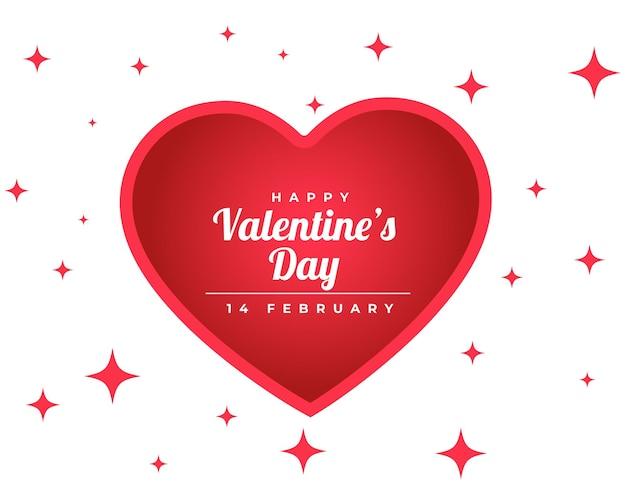 С днем святого валентина сверкающая открытка с красным сердцем Бесплатные векторы