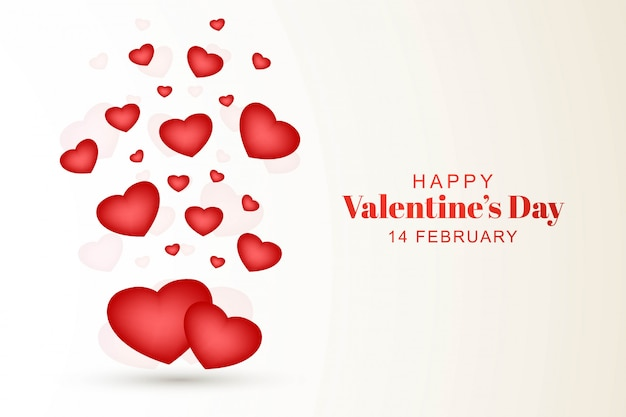 Happy valentines day with decorative hearts design Free Vector