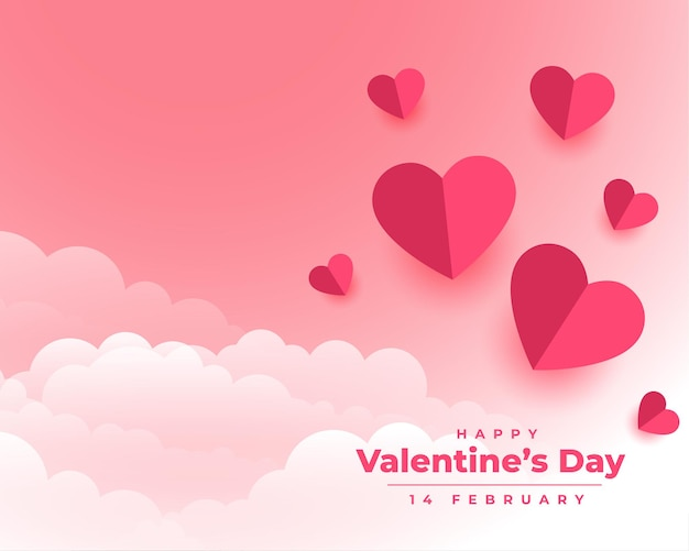 Happy valentines day with paper hearts and clouds Free Vector
