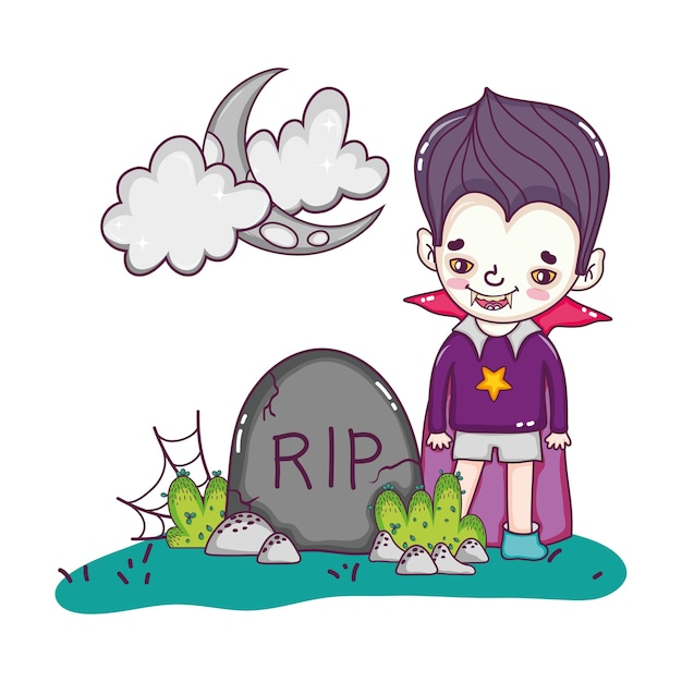 Happy vampiere boy costume with rip stone Premium Vector