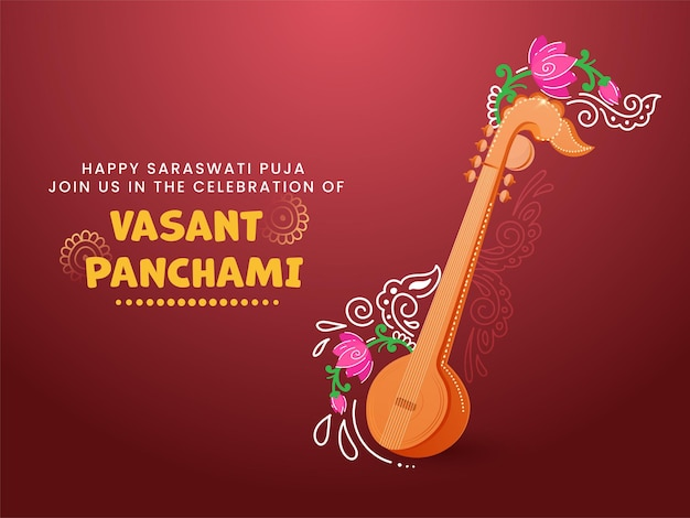 Happy vasant panchami celebration concept with veena instrument and floral Premium Vector
