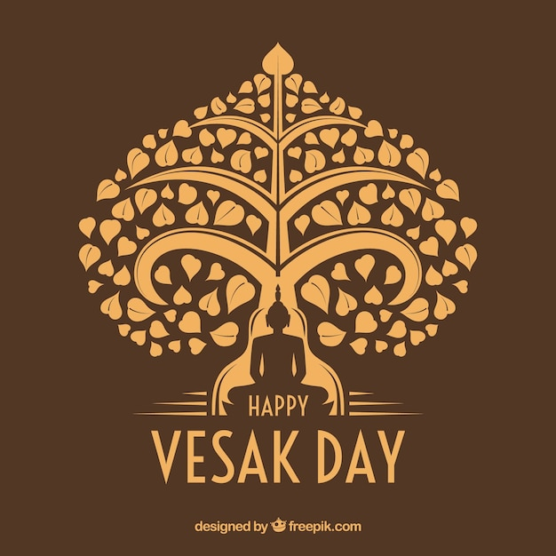 Happy vesak day background Free Vector