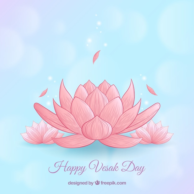 Happy vesak day background Free Vector