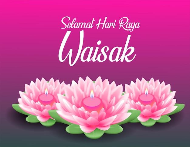 Счастливый день весак будха пурнама фон с реалистичным розовым лотосом Premium векторы