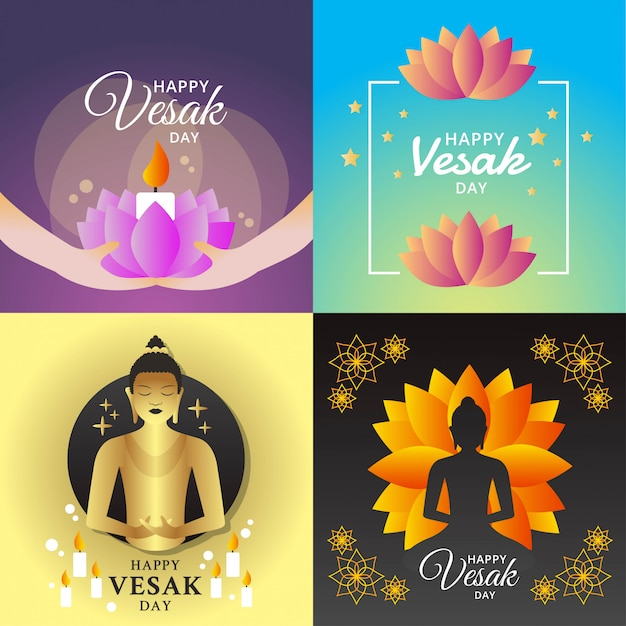 Happy vesak day illustration Premium Vector