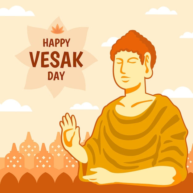 Happy vesak day with buddha Free Vector
