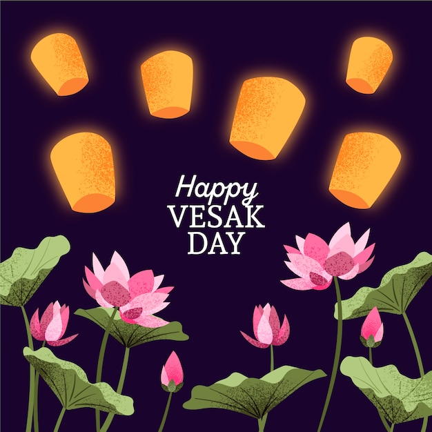 Happy vesak day with flowers and lanterns Free Vector