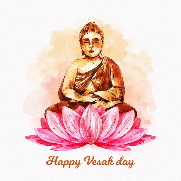 Happy vesak day with lotus and buddha Free Vector