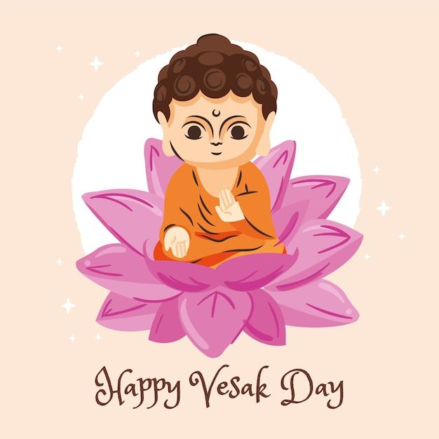 Felice giorno vesak con fiore di loto e statuetta Vettore gratuito