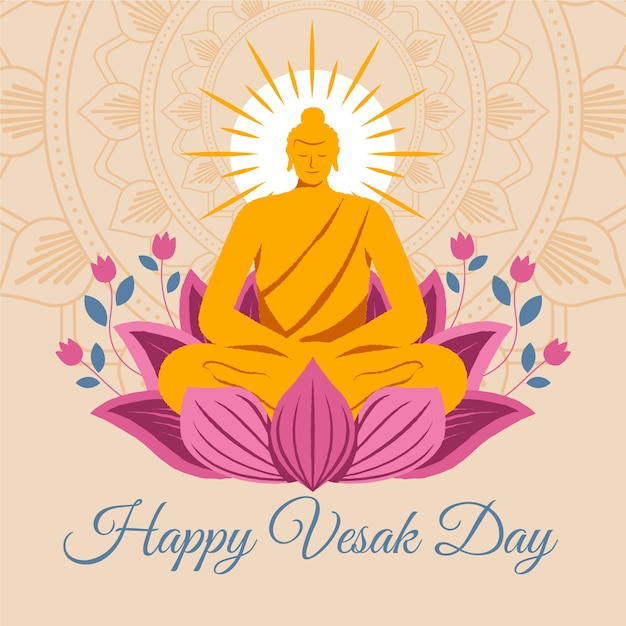 Happy vesak day with lotus flowers and buddha statue Free Vector