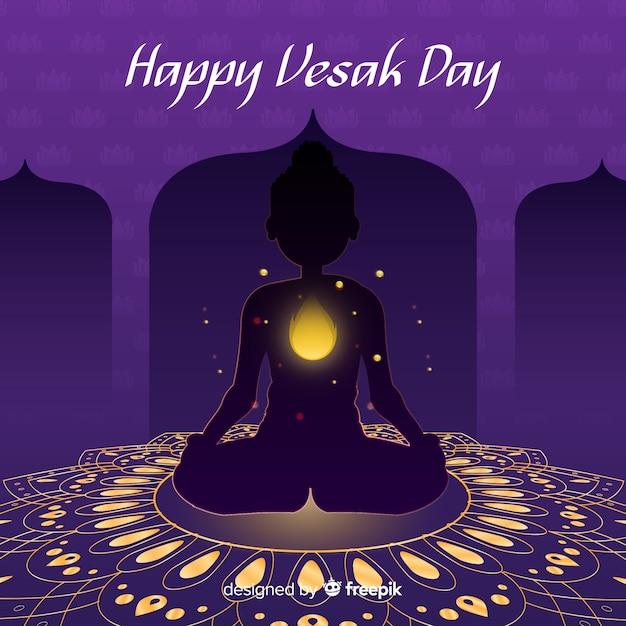 Happy vesak day Free Vector