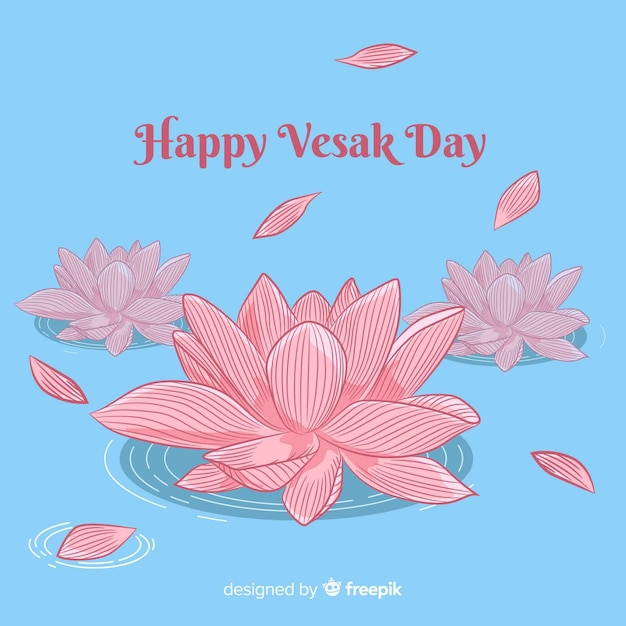 Happy vesak day Free Vector