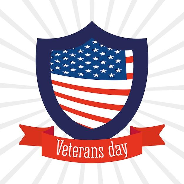 幸せな退役軍人の日、盾とリボンのサンバーストの背景イラストのアメリカ国旗 Premiumベクター