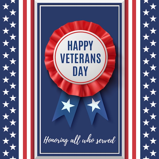 Значок с днем ветеранов. реалистичная, патриотическая, синяя и красная этикетка с лентой на абстрактном фоне американского флага. шаблон дизайна для плаката, брошюры или поздравительной открытки. Premium векторы