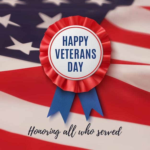 Значок с днем ветеранов. реалистичная, патриотическая, синяя и красная этикетка с лентой на фоне американского флага. плакат, брошюра или шаблон поздравительной открытки. Premium векторы