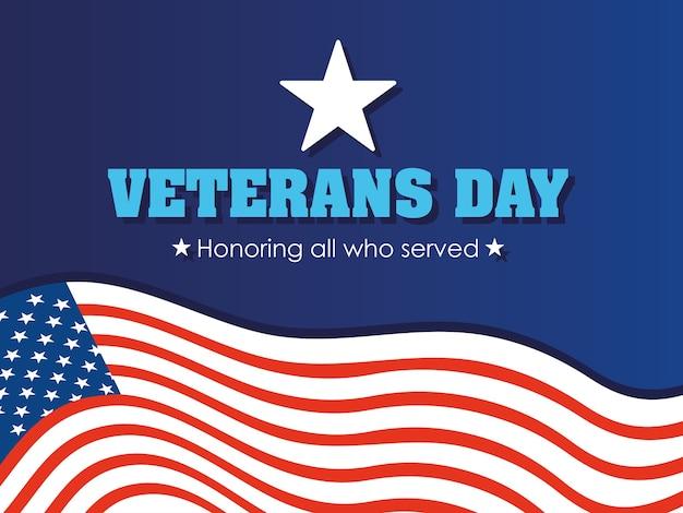 幸せな退役軍人の日、グリーティングカードアメリカ国旗のお祝いイラスト Premiumベクター