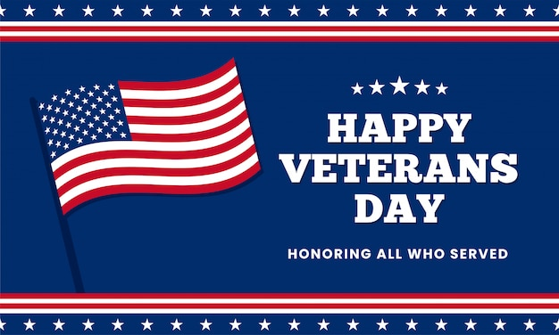 Happy veterans day honoring all who served, template design with usa america flag Premium Vector