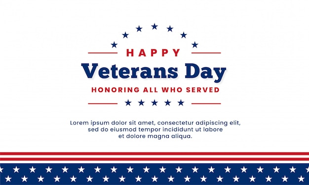 Happy veterans day honoring all who served, template design Premium Vector