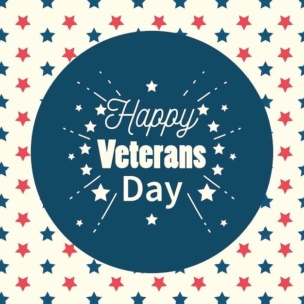 幸せな退役軍人の日、星の背景イラストの碑文ラベル Premiumベクター