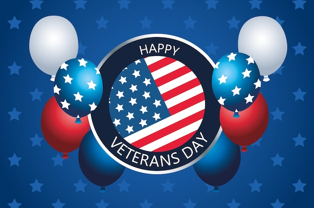 Happy veterans day lettering in button with balloons helium Premium Vector