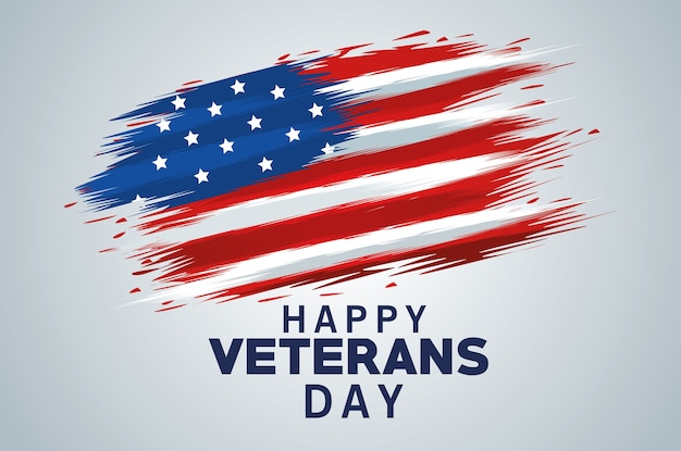 Happy veterans day lettering with usa flag painted Premium Vector