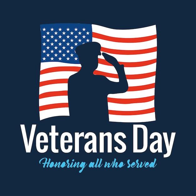 幸せな退役軍人の日、アメリカの国旗のイラストを添えたすべての人を称える兵士の敬礼とテキスト Premiumベクター