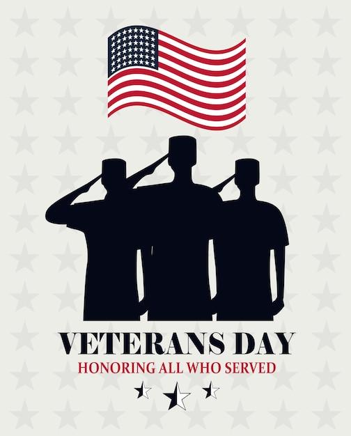 幸せな退役軍人の日、米国旗と兵士の敬礼カードベクトルイラストを振って Premiumベクター
