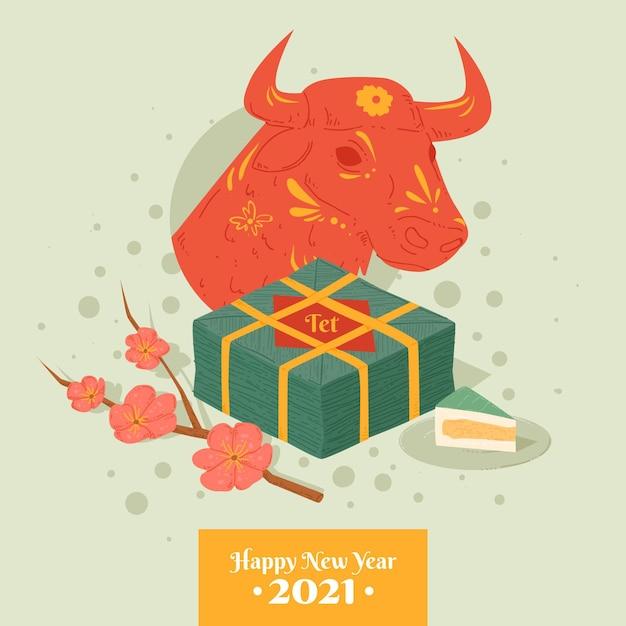 Felice anno nuovo vietnamita 2021 e toro Vettore gratuito