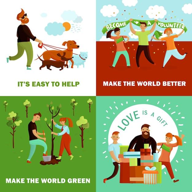 Happy volunteers design concept Free Vector
