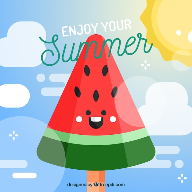 Happy watermelon background in flat design Free Vector
