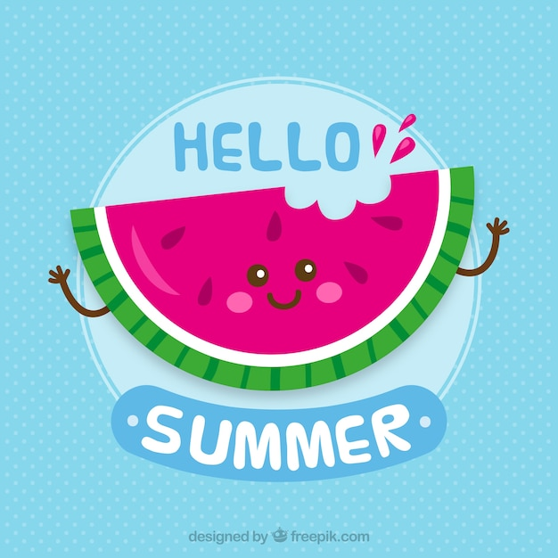 Happy watermelon background with phrase Free Vector
